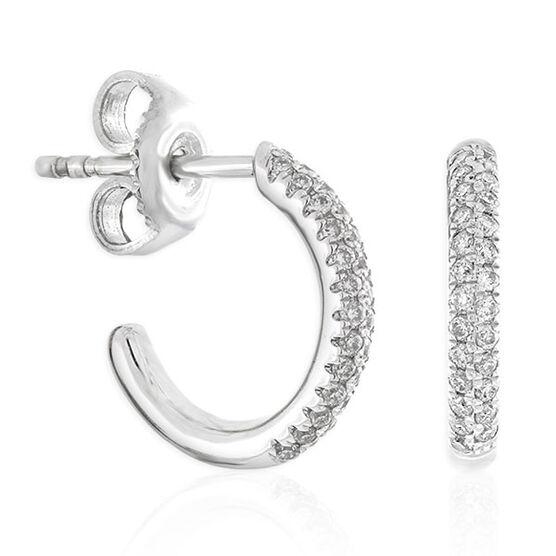 Pavé Diamond Hoop Earrings 14K