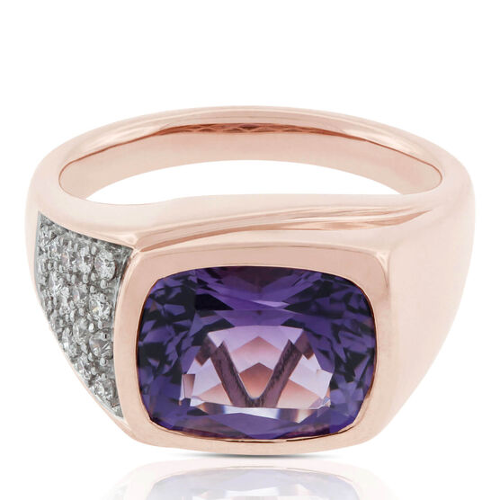 Cushion Amethyst & Diamond Ring 14K