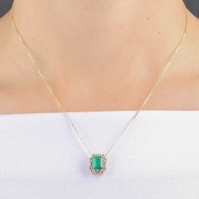 Emerald & Diamond Pendant 14K