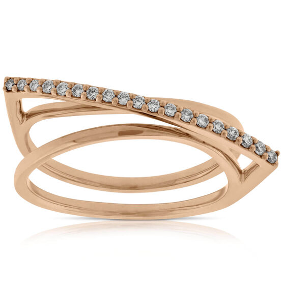 Rose Gold Diamond Overpass Ring 14K