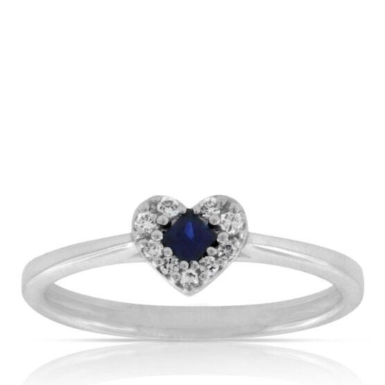 Sapphire & Diamond Heart Ring 14K