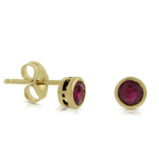 Ruby Bezel Earrings 14K