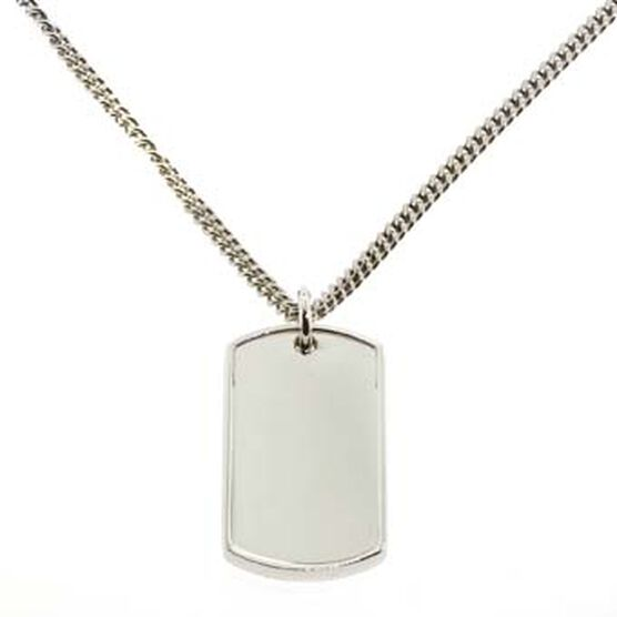 Dog Tag Pendant in Sterling Silver
