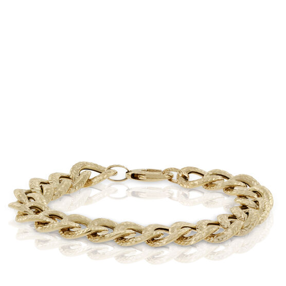 Toscano Collection Reversible Textured Curb Link Bracelet 18K