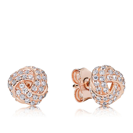 Sparkling Love Knot, PANDORA Rose™ CZ Earrings