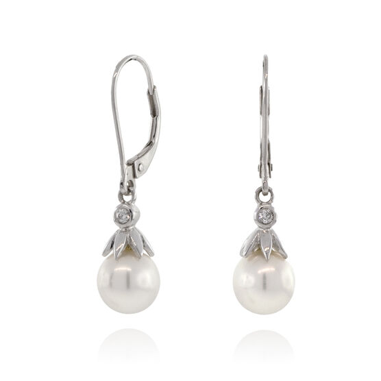Freshwater Cultured Pearl & Diamond Dangle Earrings 14K