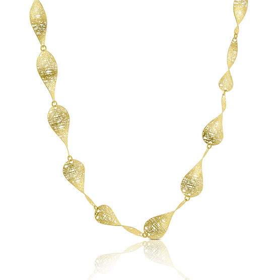 Toscano Curved Leaf Necklace 14K