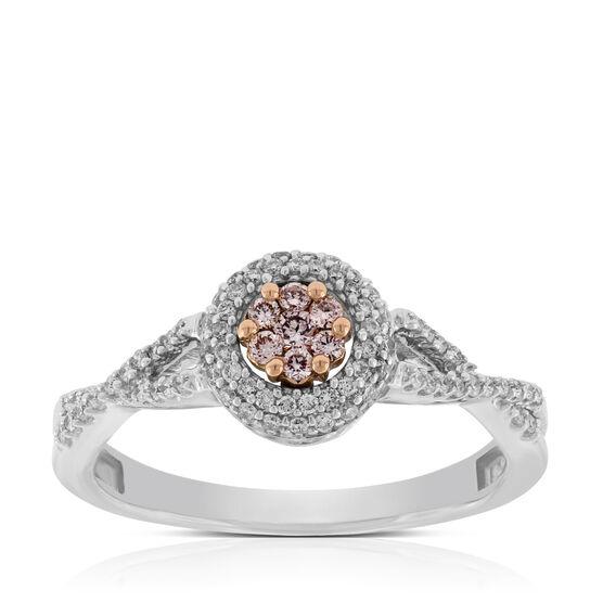 Pink & White Diamond Ring 14K