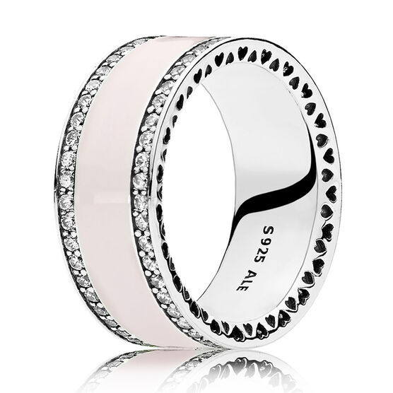 Hearts of PANDORA, Soft Pink Enamel & Clear CZ Ring