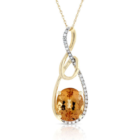 Oval Topaz & Diamond Drop Pendant 14K