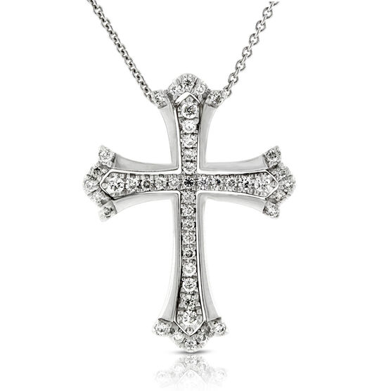 Two-Piece Diamond Cross Pendant 14K