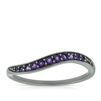 Lisa Bridge Amethyst Wave Ring in Sterling Silver
