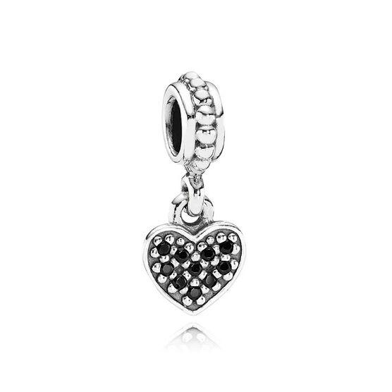 PANDORA Black Pave Heart Charm RETIRED