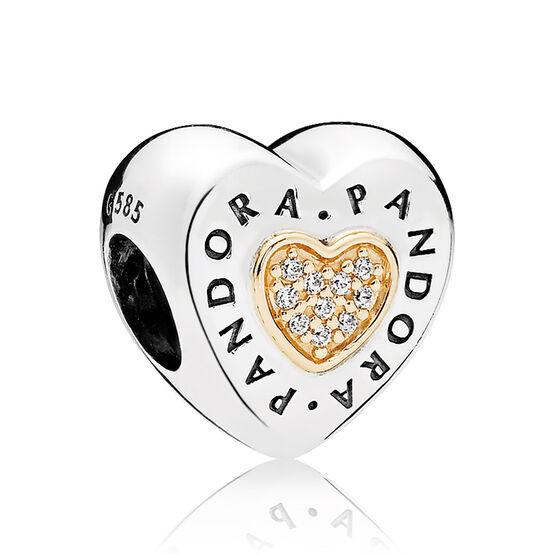 PANDORA CZ Signature Heart Charm, Silver & 14K