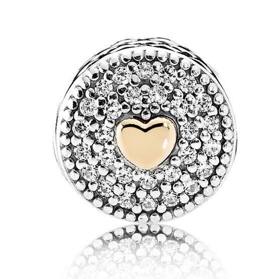 PANDORA ESSENCE AFFECTION CZ Charm. Silver & 14K