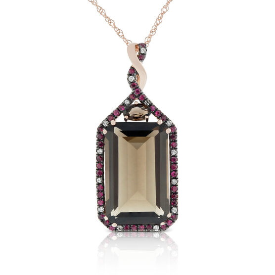 Rose Gold Smoky Quartz, Ruby & Diamond Pendant 14K