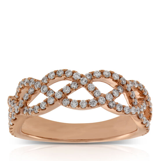 Rose Gold & Diamond Braid Ring 14K