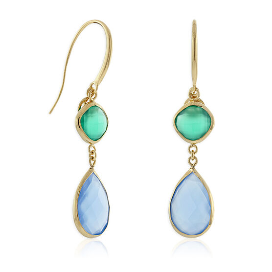 Lisa Bridge Agate & Chalcedony Dangle Earrings 14K