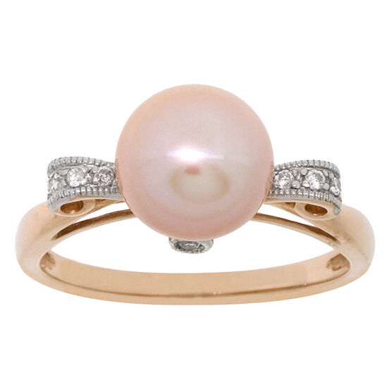 Pink Freshwater Cultured Pearl & Diamond Ring 14K