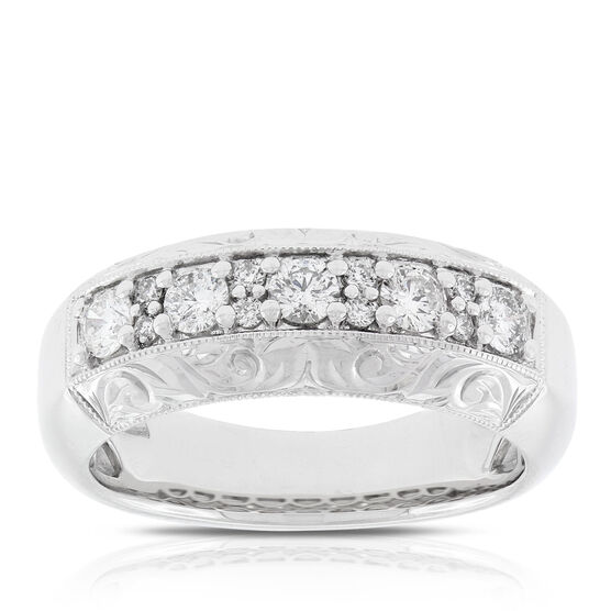 Hand Engraved Diamond Band 14K
