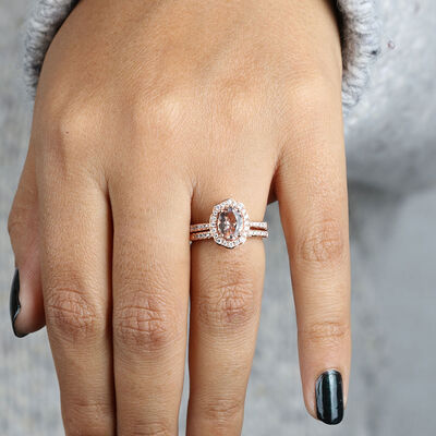 Rose Gold Morganite & Diamond Halo Wedding Set 14K