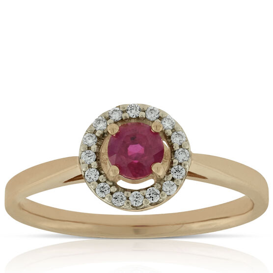 Rose Gold Ruby & Diamond Halo Ring 14K
