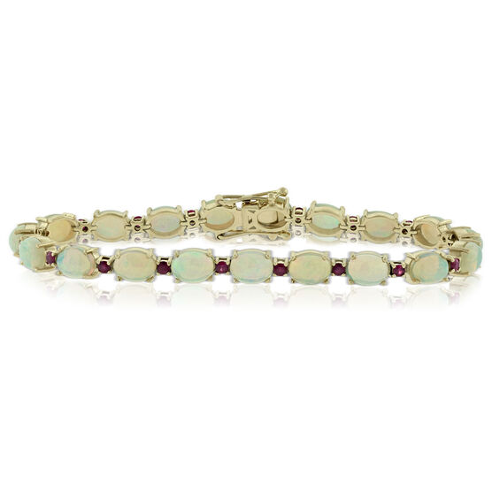 """Opal & Ruby Bracelet 14K, 8"""""""