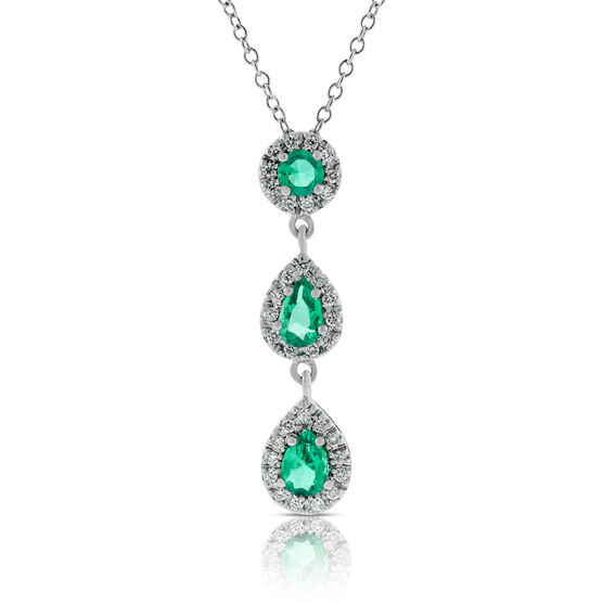 Three-Stone Emerald & Diamond Drop Pendant 14K