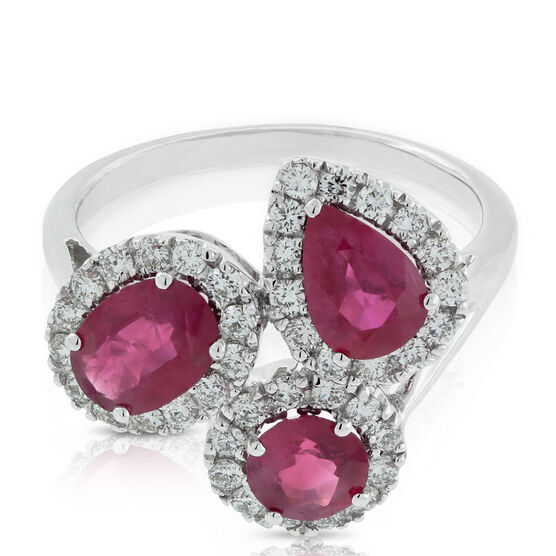 Ruby & Diamond Cluster Ring 14K