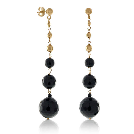 Onyx Dangle Earrings 14K