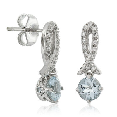 Aquamarine & Diamond Dangle Earrings 14K