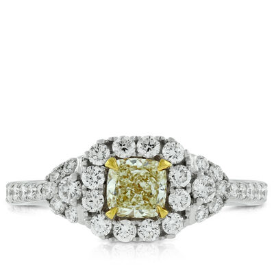 Yellow Cushion Cut Diamond Ring 18K