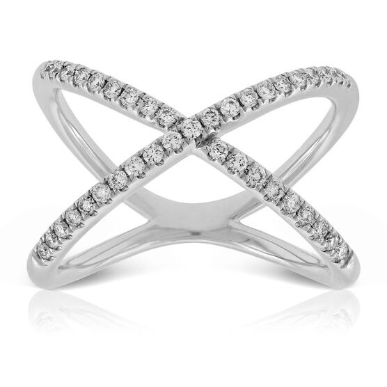 Diamond Crossover Ring, 14K