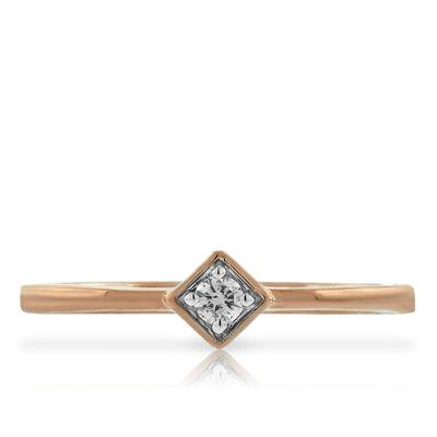 Rose Gold Diamond Promise Ring 14K