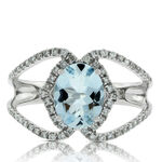 Oval Aquamarine & Diamond Crossover Ring 14K