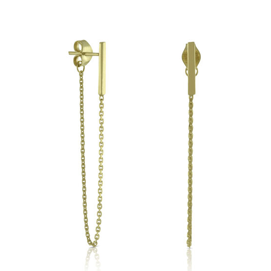 Bar & Chain Earrings 14K