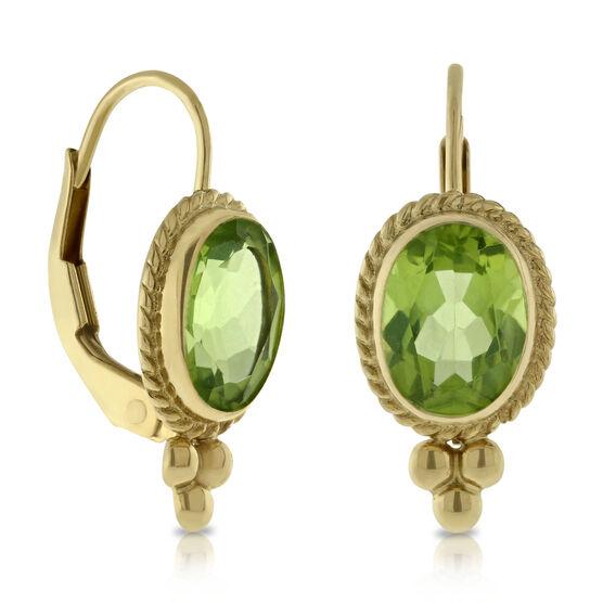 Peridot Eurowire Earrings 14K