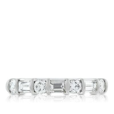 Baguette & Round Diamond Ring, 3/4 Carat in Platinum