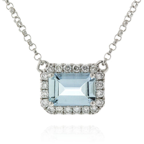 Emerald Cut Aquamarine & Diamond Necklace 14K