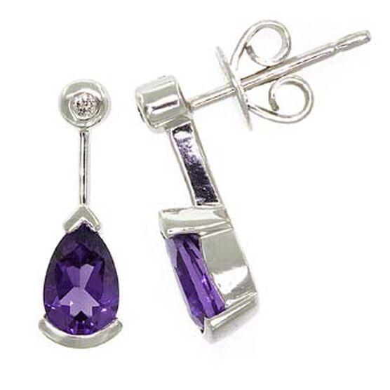 Amethyst & Diamond Earrings 14K