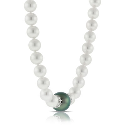 Mikimoto Cultured Akoya Pearl & Black South Sea Necklace 18K