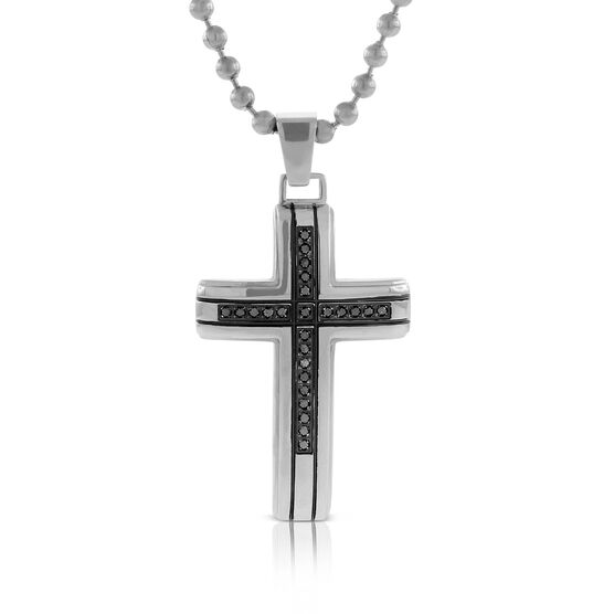 Black Diamond Men's Cross Necklace in Stainless Steel