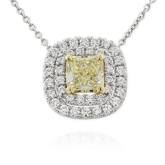 Radiant Cut Yellow Diamond Halo Pendant .53 Ct. Center, 18K