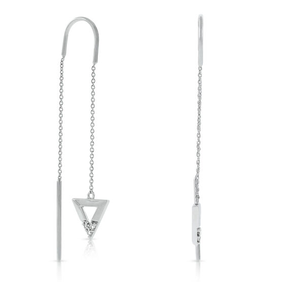 Diamond Triangle Threader Earrings 14K
