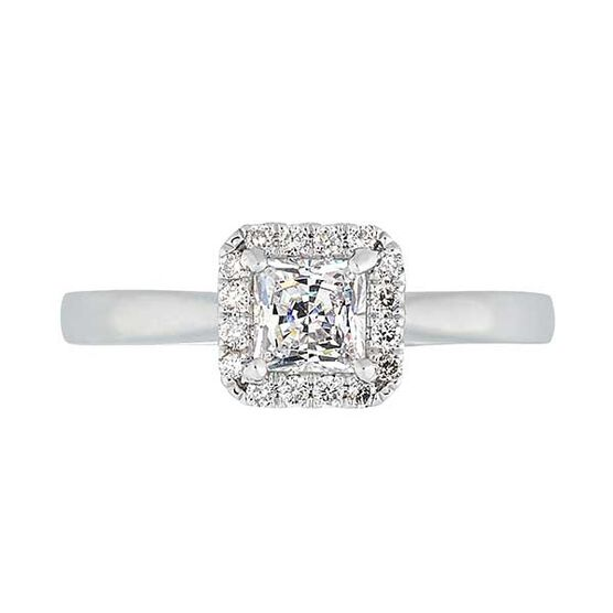 Square Halo Diamond Semi-Mount Ring 14K