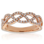 Rose Gold Diamond Braid Ring 14K