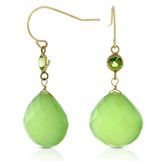 Chalcedony & Peridot Earrings 14K