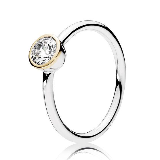 PANDORA Petite Circle CZ Ring, Silver & 14K