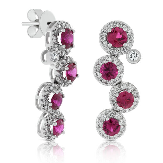 Round Ruby & Diamond Cascade Earrings 14K