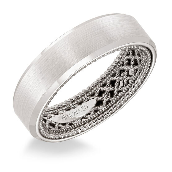 ArtCarved Inside Outside White Gold Band 14K
